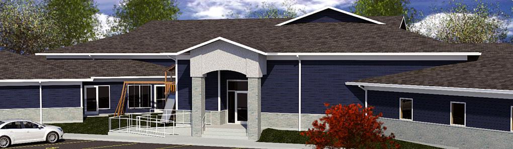 St. Katharine Drexel Shelter 3d render of homeless shelter.